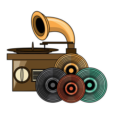 gramophone and vinyls over white background, colorful design. vector illustration Vectores