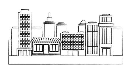 sketch of urban city with buildings and stores over white background, vector illustration