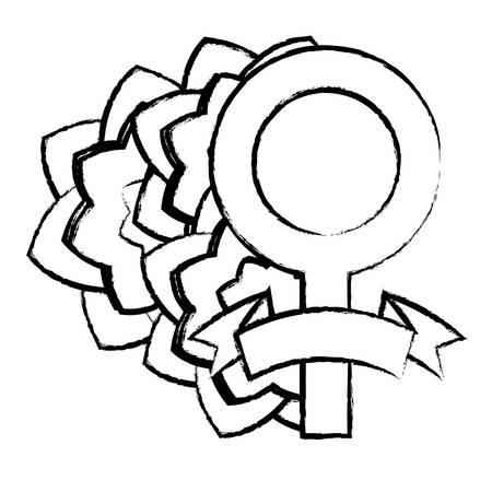 sketch of female symbol with beautiful flowers  over white background, vector illustration Ilustração