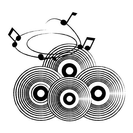sketch of vintage vinyls and musical notes over white background, vector illustration