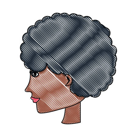 avatar woman with afro hairstyle over white background, colorful design. vector illustration