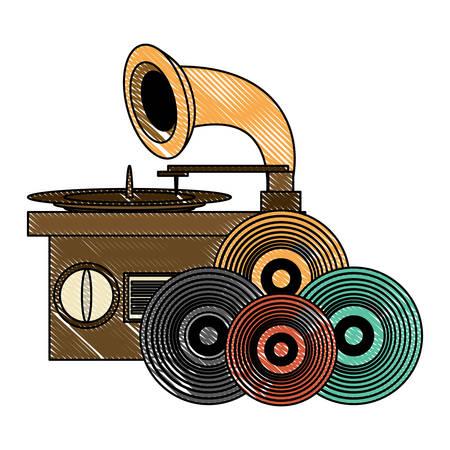 gramophone and vinyls over white background, colorful design. vector illustration Illustration