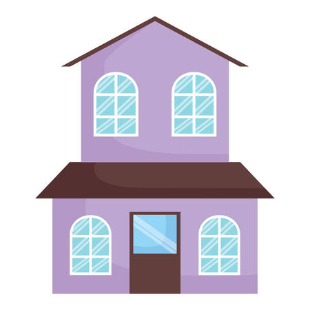 house of two floors over white background, colorful design. vector illustration