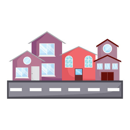 modern houses and street over white background, colorful design. vector illustration