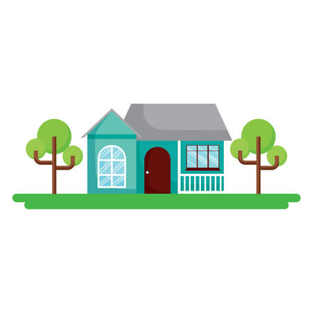 Landscape with modern house and street over white background, colorful design. vector illustration