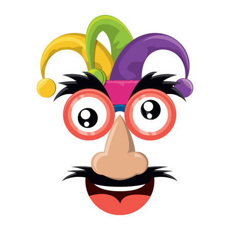 Comic face with mustache and jester hat over white background, colorful design. vector illustration