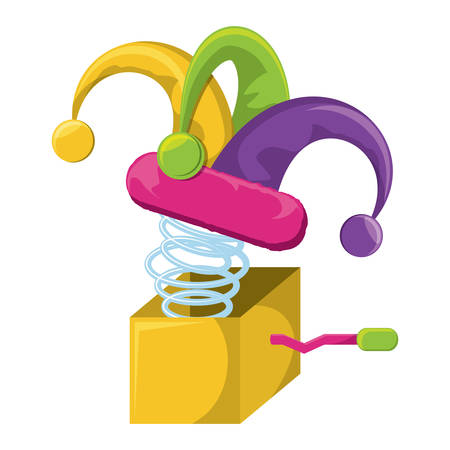 Joke box with jester hat over white background, vector illustration Illusztráció