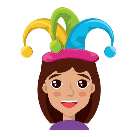 Cartoon girl with jester hat over white background, colorful design. vector illustration