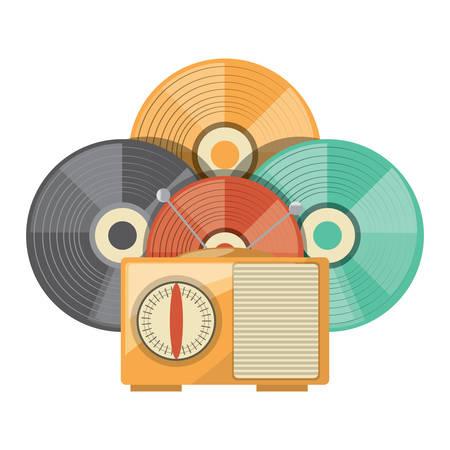 Radio retro y vinilos sobre fondo blanco, ilustración vectorial