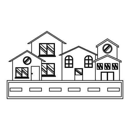 modern houses and street over white background, vector illustration
