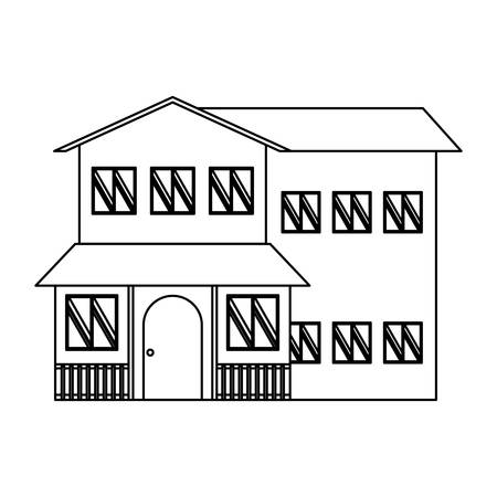 house of two floors over white background, vector illustration