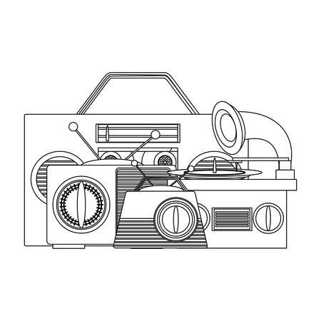 boombox stereo design over white background, vector illustration Illustration