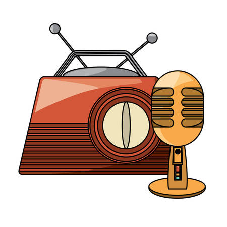 retro radio and microphone over white background, vector illustration