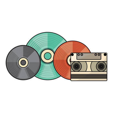 vinyls and cassette over white background, vector illustration