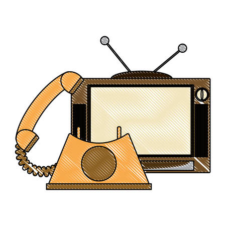 retro television and telephone icon over white background, vector illustration