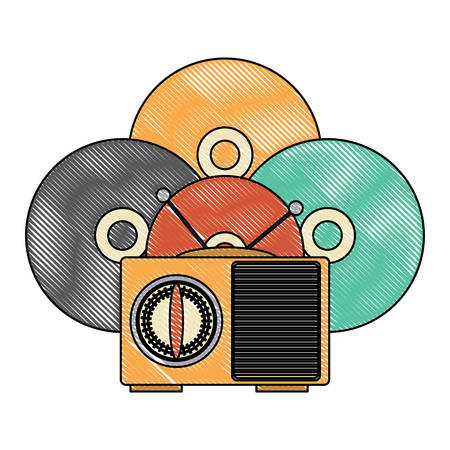 retro radio and vinyls over white background, vector illustration Illustration