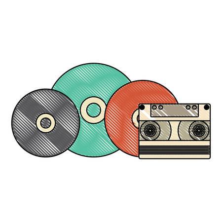 vinyls and cassette over white background, vector illustration