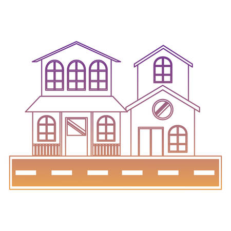 modern houses and street over white background, colorful design. vector illustration Banque d'images - 103314889