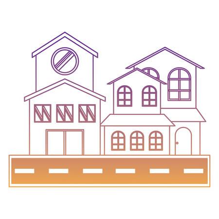 maisons modernes et rue sur fond blanc, design coloré. illustration vectorielle