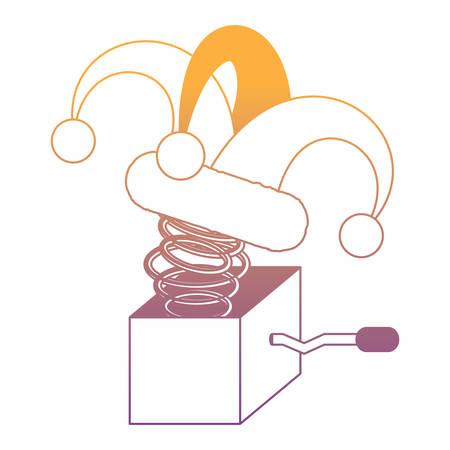 Joke box with jester hat over white background, vector illustration Illustration