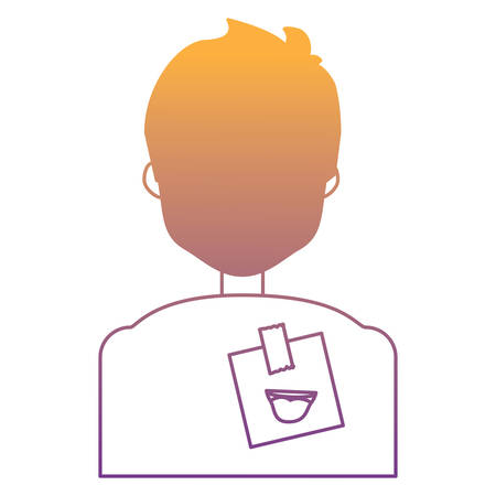 man with  sticker on back over white background, colorful design. vector illustration