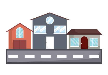 Différentes maisons le long de la rue sur fond blanc, design coloré. illustration vectorielle