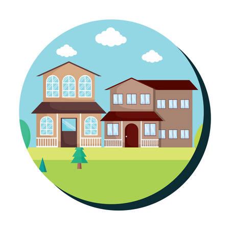 Cadre circulaire décoratif avec paysage avec des maisons modernes sur fond blanc, design coloré. illustration vectorielle