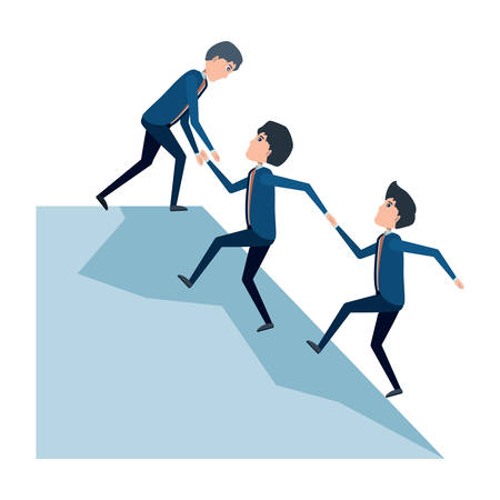 Cartoon businessman helping a others businessmen climb to the top over white background, vector illustration Vectores