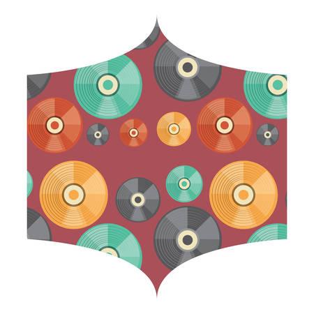 decorative frame with vinyls pattern over white background, vector illustration