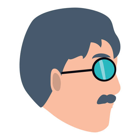 cartoon man with sunglasses icon over white background, vector illustration Illustration