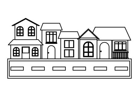 Street with Different houses along  over white background, vector illustration