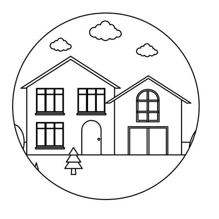 Frame in circle shape with traditional houses in a landscape over white background, vector illustration