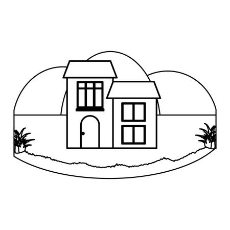 Traditional houses in a landscape over white background, vector illustration 일러스트