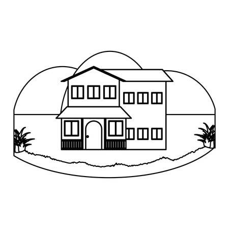 Traditional houses in a landscape over white background, vector illustration Ilustrace