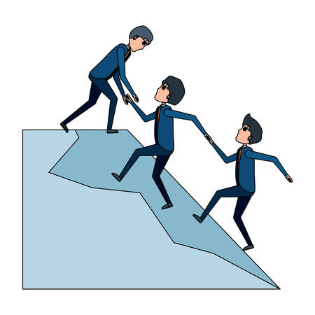 Cartoon businessman helping a others businessmen climb to the top over white background, vector illustration 矢量图像