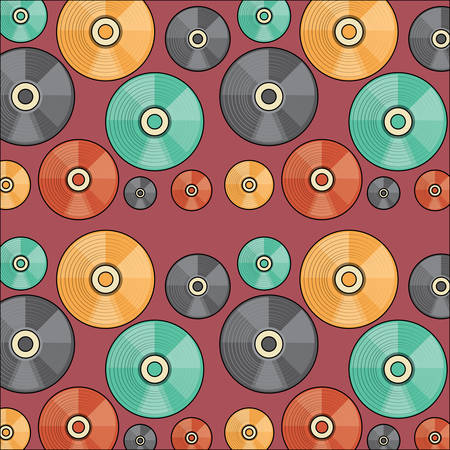 Fondo de patrón de vinilos, diseño colorido. ilustración vectorial Ilustración de vector