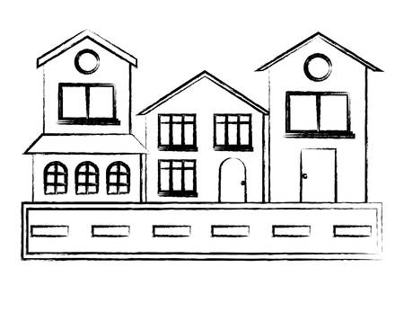 Street with houses over white background, vector illustration Çizim