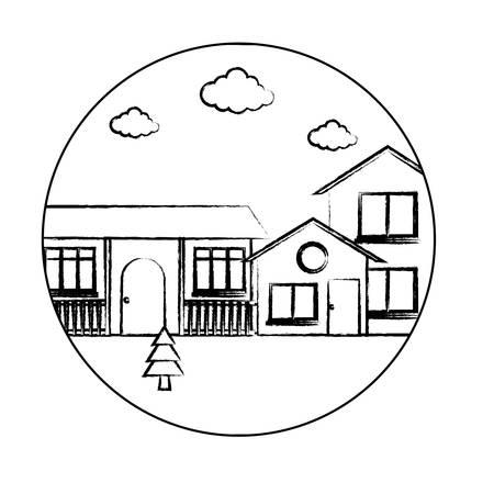 Cadre circulaire décoratif avec paysage avec des maisons modernes sur fond blanc, illustration vectorielle