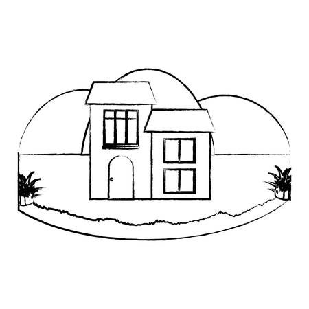 sketch of Traditional houses in a landscape over white background, vector illustration