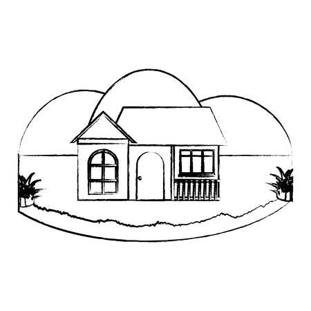modern house over landscape and white background, colorful design. vector illustration