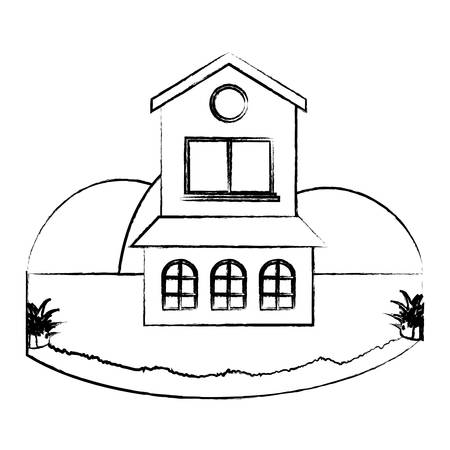 Traditional two floors house in a landscape over white background, vector illustration