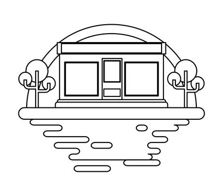store and trees over landscape and white background, vector illustration