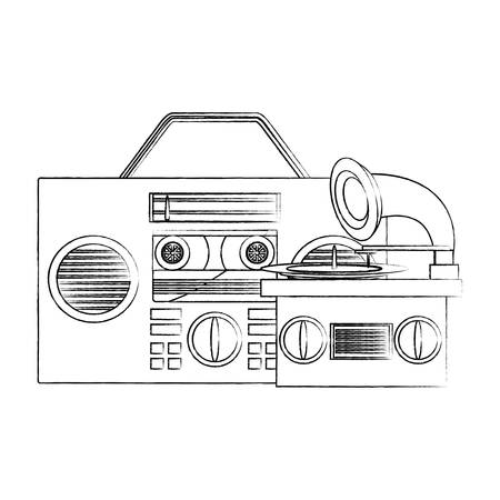 boombox with gramophone and other retro devices over white background, vector illustration