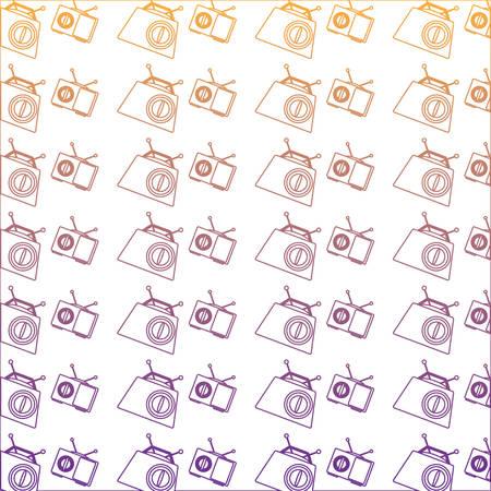 background of Retro radios pattern, vector illustration