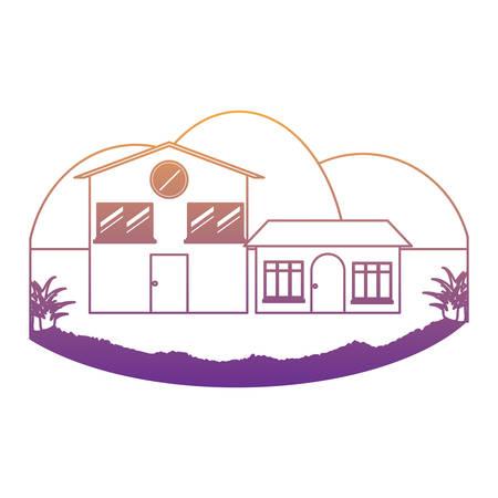 maisons modernes sur fond de paysage et blanc, design coloré. illustration vectorielle