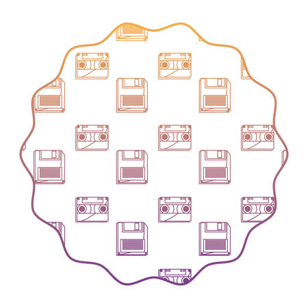 circular frame with Casette and diskette pattern over white background, vector illustration Illustration