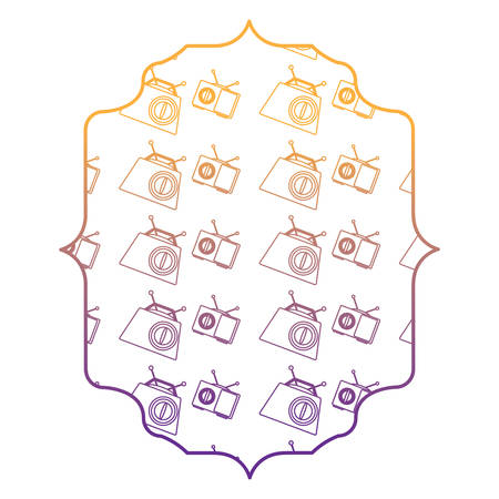 arabic frame with Retro radios pattern over white background, vector illustration Illustration