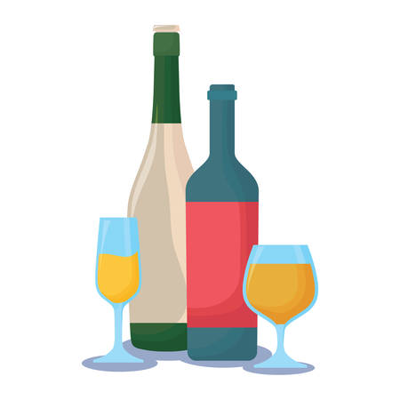 wine and champagne bottle over white background, vector illustration