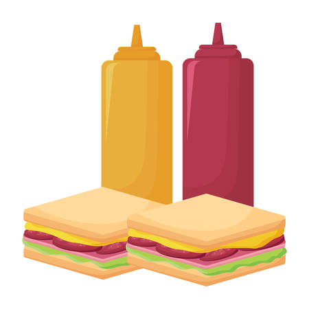 sandwichs and sauce bottles over white background, vector illustration