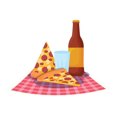 picnic tablecloth with pizza slices and beer bottle over white background, vector illustration